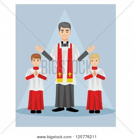 Catholic priest in a cassock with children