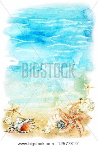 Watercolor beach illustration with sea shells and starfishes. Seashore with waves and foam. Hand painted background