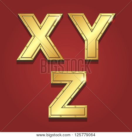 Gold letters alphabet font style. X Y Z Vector illustration