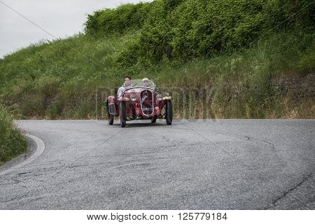 PESARO, ITALY - MAY 15: FIAT 508 S Coppa d'Oro Balilla Sport 1934 on an old racing car in rally Mille Miglia 2015 the famous italian historical race (1927-1957) on May 2015