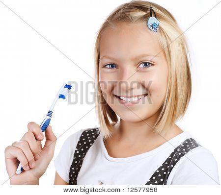 Healthy Teeth. Little Girl brushing her teeth