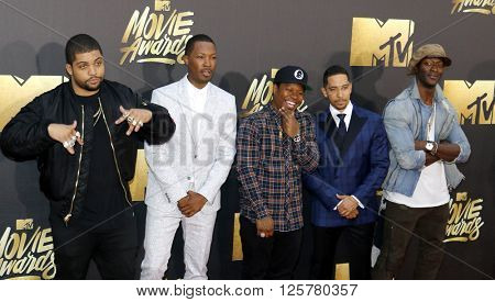 O'Shea Jackson Jr., Corey Hawkins, Neil Brown Jr. and Aldis Hodge at the 2016 MTV Movie Awards held at the Warner Bros. Studios in Burbank, USA on April 9, 2016.