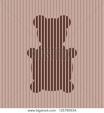 playful retro teddy bear on stripes background. Vector
