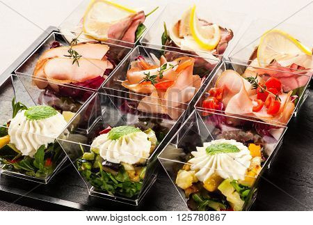 Cute Glass Containers Filled With Appetizers