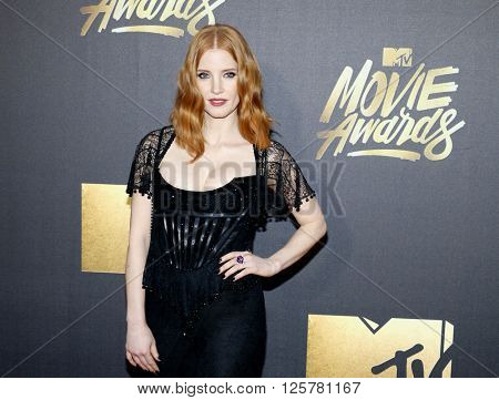 Jessica Chastain at the 2016 MTV Movie Awards held at the Warner Bros. Studios in Burbank, USA on April 9, 2016.