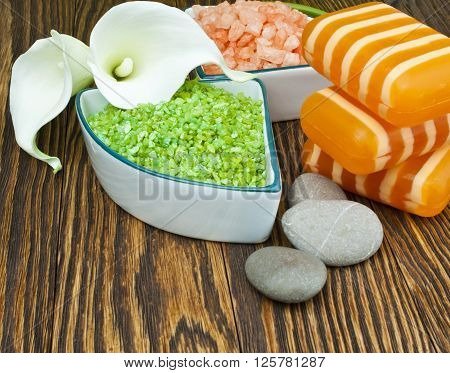Spa concept ( zen stones, sea salt and flowers).