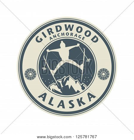 Abstract stamp or emblem with the name of Girdwood, Anchorage in Alaska, vector illustration
