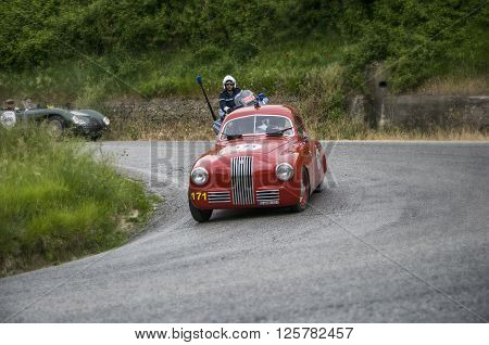 PESARO, ITALY - MAY 15:FIAT 1100 S berlinetta Gobbone 1948 on an old racing car in rally Mille Miglia 2015 the famous italian historical race (1927-1957) on May 15 2015
