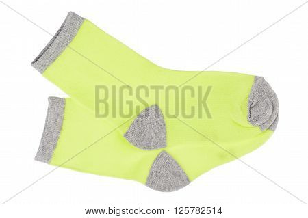 Pair of kid socks isolated on white background.