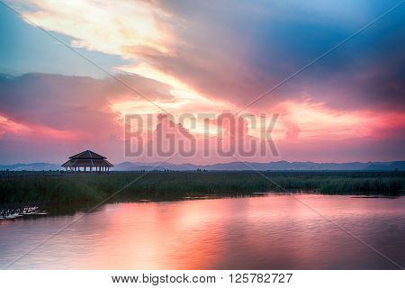 beautiful twilight sky and seascape colorful cloudscape background landscape