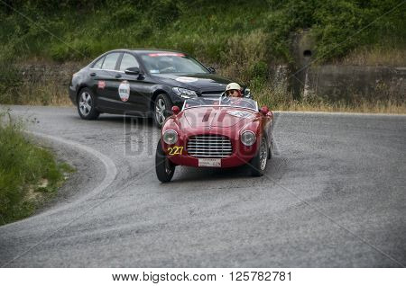 PESARO, ITALY - MAY 15: S.I.A.T.A. 300 BC 1951 on an old racing car in rally Mille Miglia 2015 the famous italian historical race (1927-1957) on May 15 2015