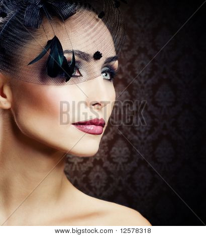 Beautiful Young Woman portrait.Vintage Styled