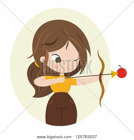 Archer girl with bow. Cute horoscope. Zodiac signs. Sagittarius. Series of cartoon zodiac characters. Horoscope for kids or teens, template for card, invitation, calendar or etc. Vector illustration of the girl isolated on white background.