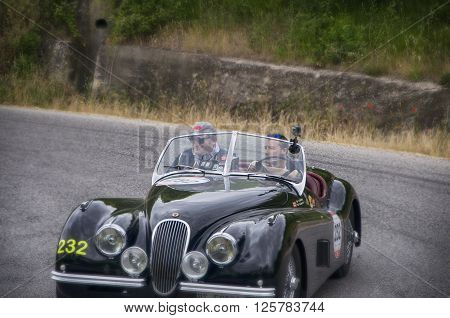 PESARO, ITALY - MAY 15: JAGUAR XK 120 OTS Roadster 1952 on an old racing car in rally Mille Miglia 2015 the famous italian historical race (1927-1957) on May 15 2015