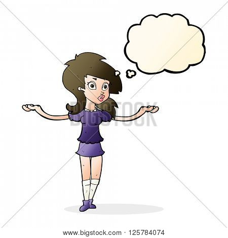 cartoon confused pretty girl with thought bubble