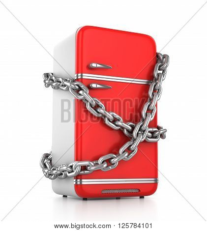 Closed vintage red fridge with chain around it - diet concept. 3d illustration