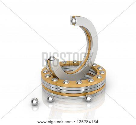 Bearings Thrust ball isolated white background. 3D illustration