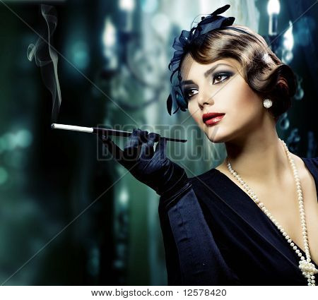 Beautiful Young Woman in Classic Interior