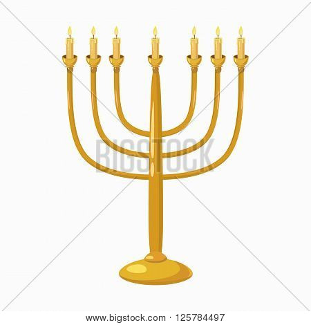 Jewish Menorah with candles icon in cartoon style isolated on white background