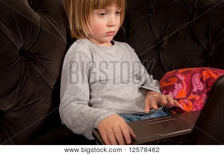 Child Laptop Sofa Evening