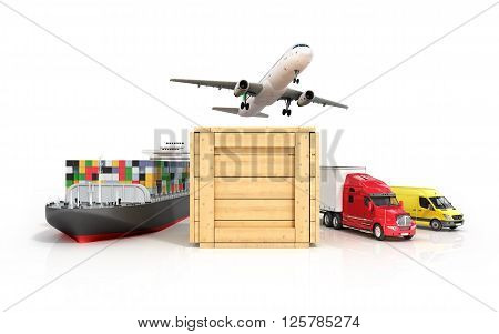 3d render of different modes of transport go out of the wooden box
