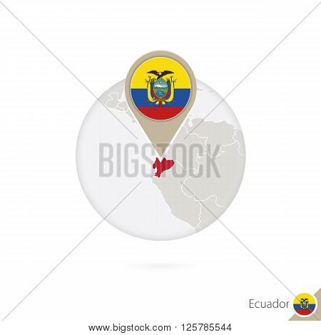 Ecuador Map And Flag In Circle. Map Of Ecuador, Ecuador Flag Pin. Map Of Ecuador In The Style Of The
