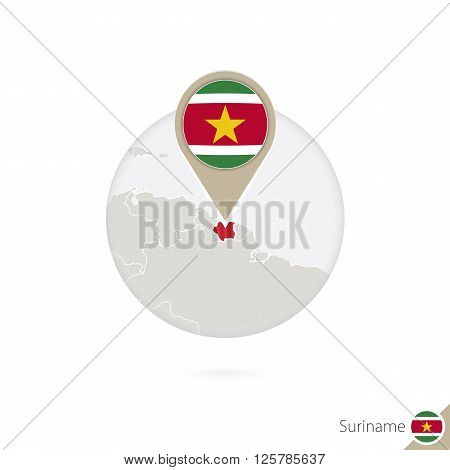 Suriname Map And Flag In Circle. Map Of Suriname, Suriname Flag Pin. Map Of Suriname In The Style Of