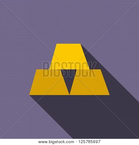 Gold bars icon in flat style on a violet background
