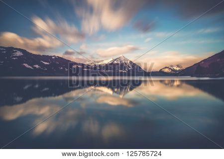 Morning glory - Beautiful sunrise ober the lake thun in Switzerland