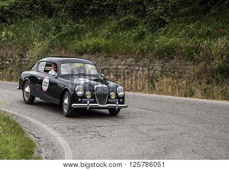 PESARO, ITALY - MAY 15:  LANCIA Aurelia B20 GT 2000 berlinetta Pinin Farina 1951 on an old racing car in rally Mille Miglia 2015 the famous italian historical race (1927-1957) on May 2015