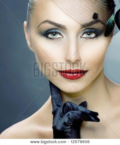 Retro Woman Portrait.Woman's Face