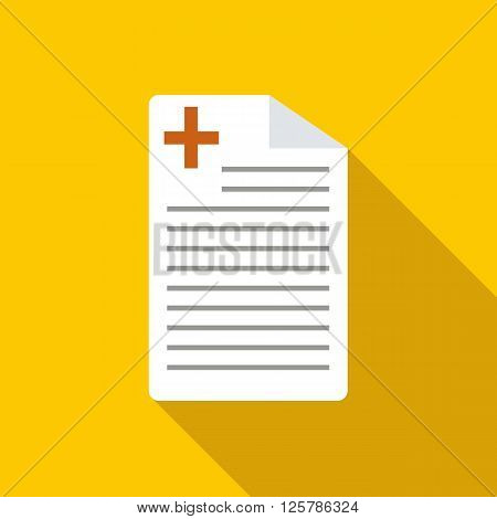 Medical history icon in flat style on a yellow background