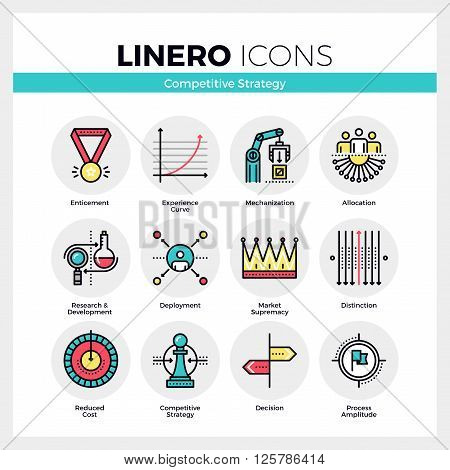 Competitive Strategy Linero Icons Set