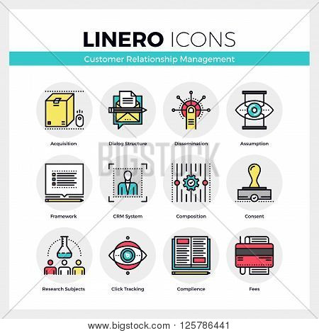 Customer Relationship Management Linero Icons Set