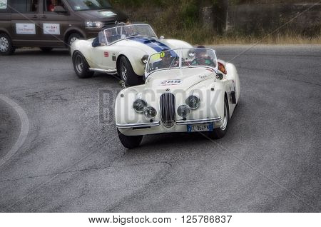 PESARO, ITALY - MAY 15: JAGUAR XK 120 OTS Roadster 1953  on an old racing car in rally Mille Miglia 2015 the famous italian historical race (1927-1957) on May 2015