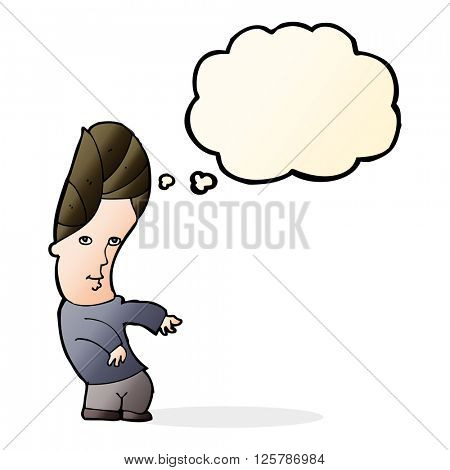 cartoon man with no worries with thought bubble