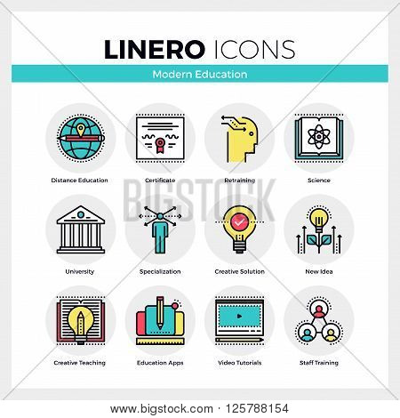 Modern Education Linero Icons Set