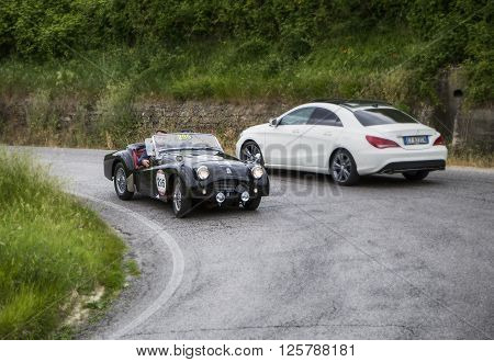 PESARO, ITALY - MAY 15: TRIUMPH TR2 Sports 1954   on an old racing car in rally Mille Miglia 2015 the famous italian historical race (1927-1957) on May 2015
