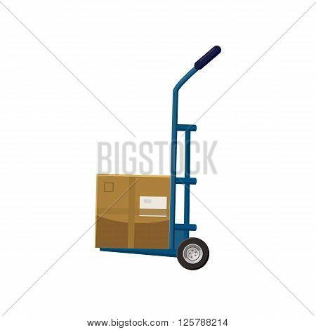 Hand truck with box icon in cartoon style on a white background
