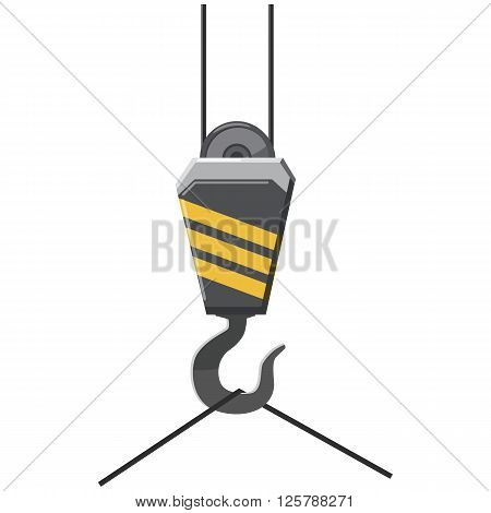 Crane hook icon in cartoon style on a white background