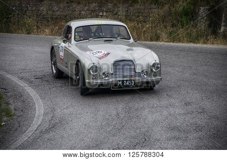 PESARO, ITALY - MAY 15: ASTON MARTIN DB 2 Vantage 1953 on an old racing car in rally Mille Miglia 2015 the famous italian historical race (1927-1957) on May 2015