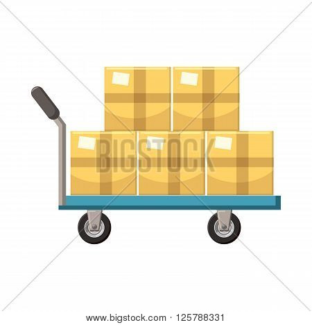 Hand cart with cardboards icon in cartoon style on a white background