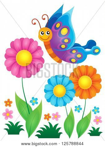 Flowers and happy butterfly theme 1 - eps10 vector illustration.