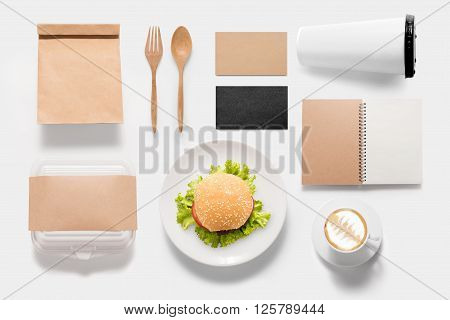 Design concept brand of mockup burger set on white background. Copy space for text.