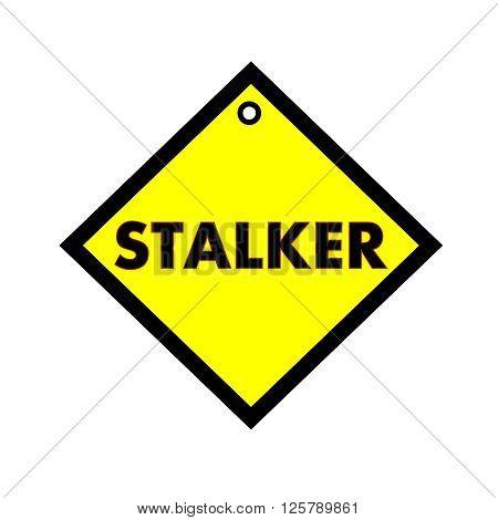 STALKER black wording on quadrate yellow background