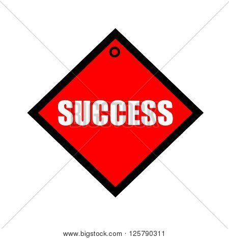 success black wording on quadrate red background