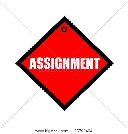 ASSIGNMENT black wording on quadrate red background