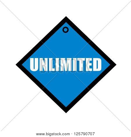 unlimited white wording on quadrate blue background