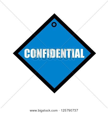 confidential white wording on quadrate blue background