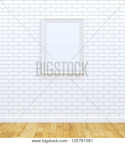 Blank white frame on white brick wall